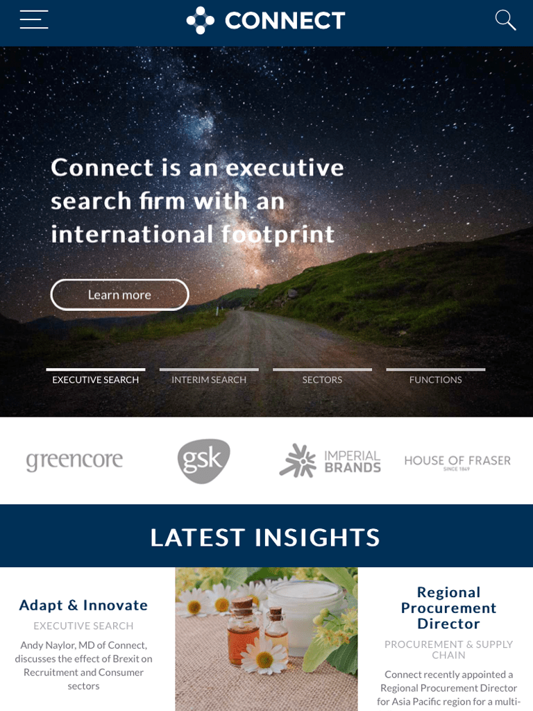 Connect Search Mobile Website Design